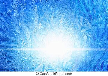 congelato, vetro, ghiacciato