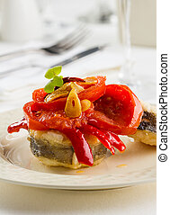 Conger dish - Fried conger with bell pepper, tomato and ...