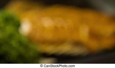conger, plaque, foyer, anguille, sélectif, savoureux, noir, mensonge