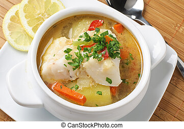 conger soup with cilantro, potatoes and carrots