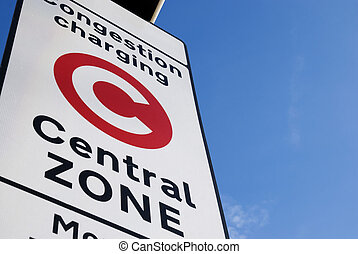 Congestion Charge Sign - Congestion Charge sign with Blue...