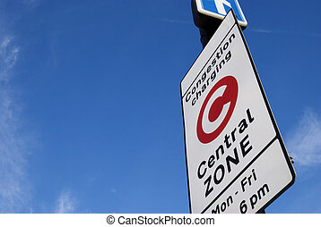 Congestion Charge Sign - Congestion Charge sign with Blue...