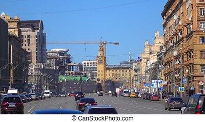 congestionné, et, gratuite, parties, de, large, ville,...