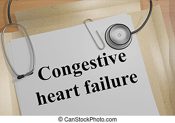 Congestive heart failure concept - Render illustration of...
