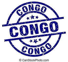 Congo blue round grunge stamp