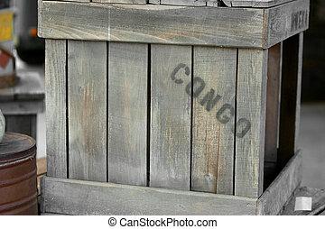 congo, cajón, de madera