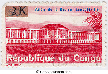 CONGO - CIRCA 1977 : stamp printed in Congo shows Palace of ...