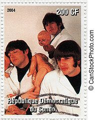 CONGO - CIRCA 2004 : Stamp printed in Congo shows The Beatles - 1960s famous musical pop group, circa 2004