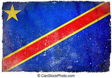 congo, democrático, república, grunge, bandera