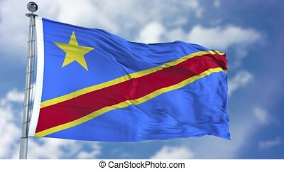 Congo Democratic Republic Flag in a Blue Sky