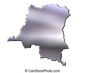 Congo Democratic Republic of 3D Silver Map