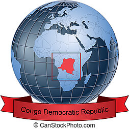 Congo Democratic Republic, position on the globe Vector...