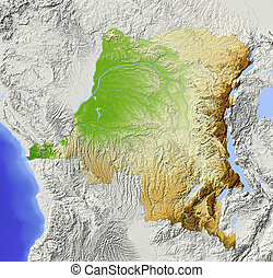 Congo, Democratic Republic, shaded relief map - Congo,...