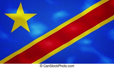Democratic Republic of Congo dense flag fabric wavers, perfect loop for background