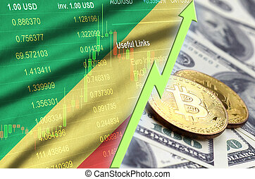 Congo flag and cryptocurrency growing trend with two bitcoins on dollar bills
