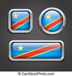 Congo flag glass buttons - Set of Congo flag glass buttons,...