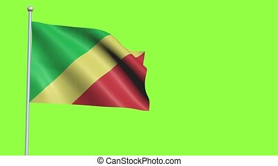Congo Flag in 3D render with green screen background in Slow Motion