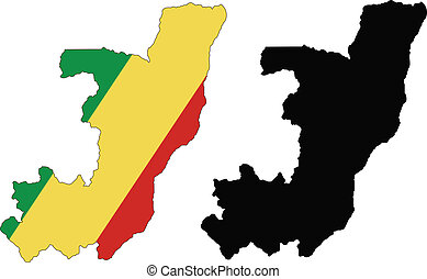 congo - vector map and flag of Congo with white background....