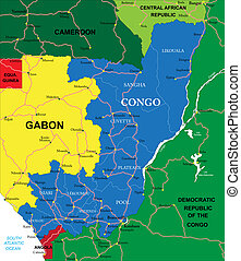 Congo map - Highly detailed vector map of Congo with...