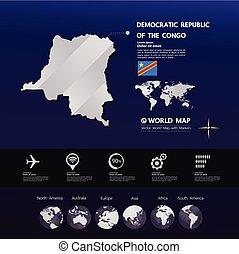 congo, mappa, vettore, repubblica, democratico