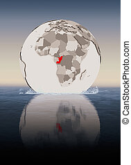 Congo on globe in water