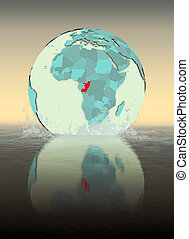 Congo on globe splashing in water