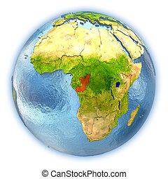 Congo on isolated globe