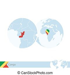 Congo on world globe with flag and regional map of Congo....