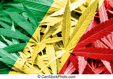 Congo Republic Flag on cannabis background. Drug policy. ...