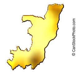 Congo Republic of 3d Golden Map