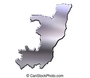 Congo Republic of 3D Silver Map