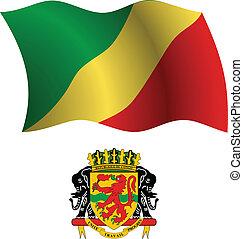 congo republic wavy flag and coat - republic of the congo...