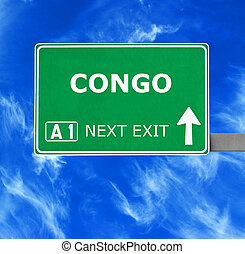 CONGO road sign against clear blue sky