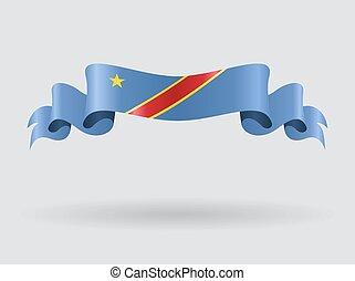 Congo wavy flag. Vector illustration. - Congo flag wavy...