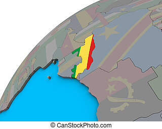 Congo with flag on 3D globe