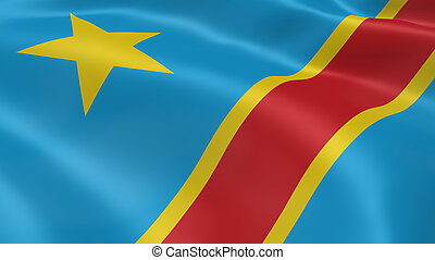 Congolese flag in the wind