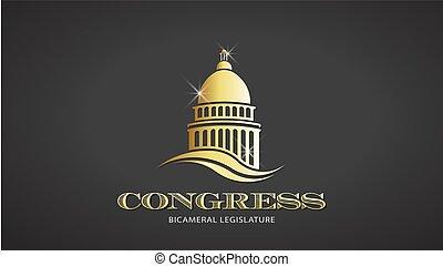 congrès, or, deisgn, vecteur, icon., capitole