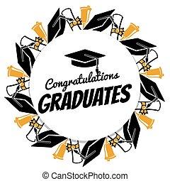 congrats, étudiants, diplômés, bannière, accessorises, rond