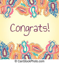 Congrats card. Abstract colorful vector illustration