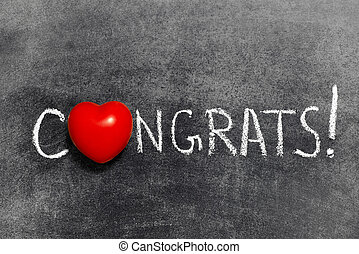congrats exclamation handwritten on blackboard with heart...