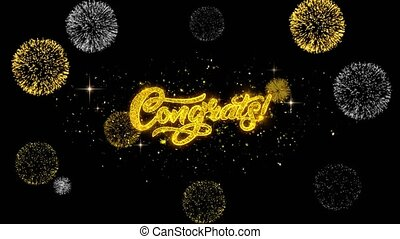Congrats Golden Text Blinking Particles with Golden Fireworks Display