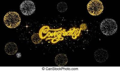 Congrats Golden Text Blinking Particles with Golden...
