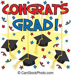 Congrats Grad! - Graduation card with caps hung by ribbon. ...
