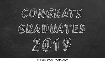 Congrats graduates. 2019. - Hand drawing and animated text...