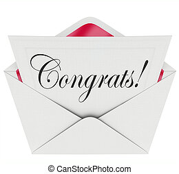 Congrats Note Open Letter Card Envelope Congratulations -...