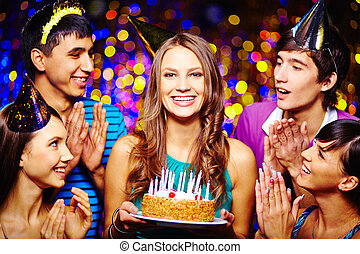 Congrats - Portrait of joyful girl with birthday dessert...