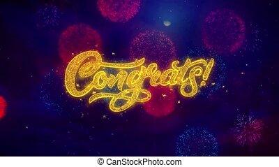 congrats, salutation, texte, éclat, particules, sur, coloré,...