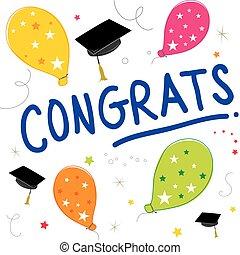 Congrats Text Balloon Color Graduate Vector Design