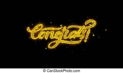 Congrats Typography Written with Golden Particles Sparks Fireworks