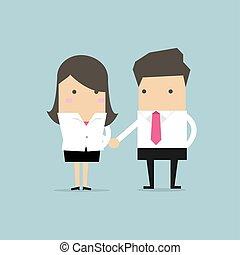 congratulating., mani scotendo, uomo affari, donna d'affari